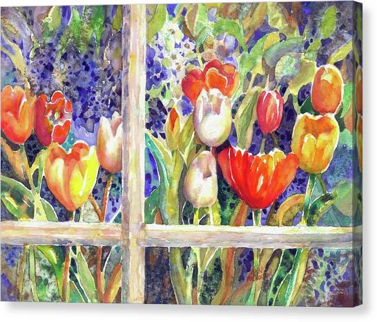 Window Box Tulips Canvas Print