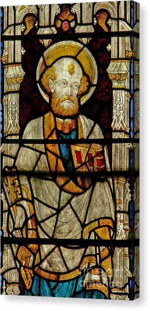 Lovely Decorative Glass Canvas Print   Window Depicting St Peter By English School
