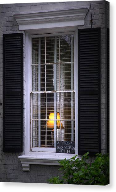 Black Widow Canvas Print - Window Of The Black Widow by Mark Andrew Thomas