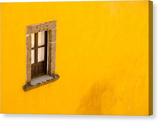 Rights Managed Images Canvas Print - Window On A Yellow Wall. by Rob Huntley