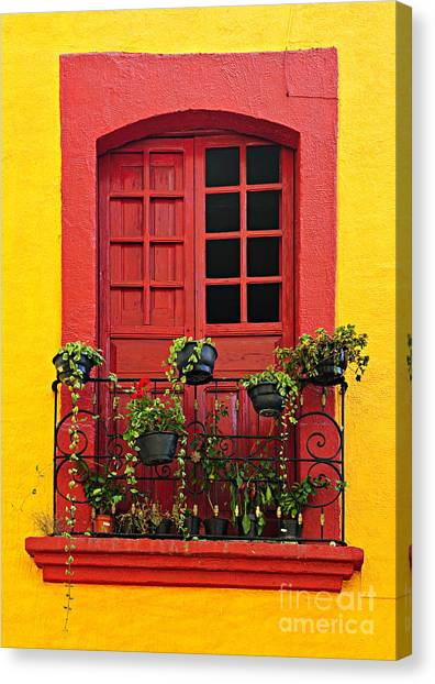 Window Canvas Print - Window On Mexican House by Elena Elisseeva