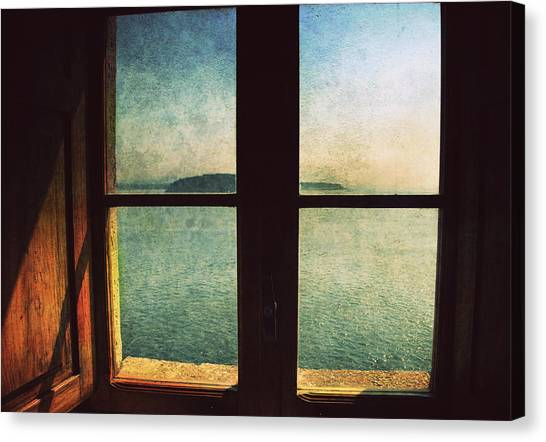 Window Overlooking The Sea Canvas Print