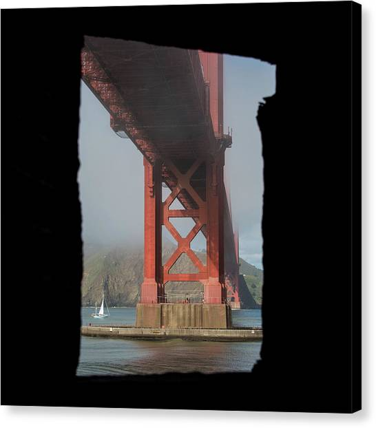 Canvas Print featuring the photograph window to the Golden Gate Bridge by Stephen Holst