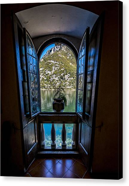 Window To The Lake Canvas Print