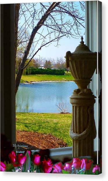 Window View Pond Canvas Print