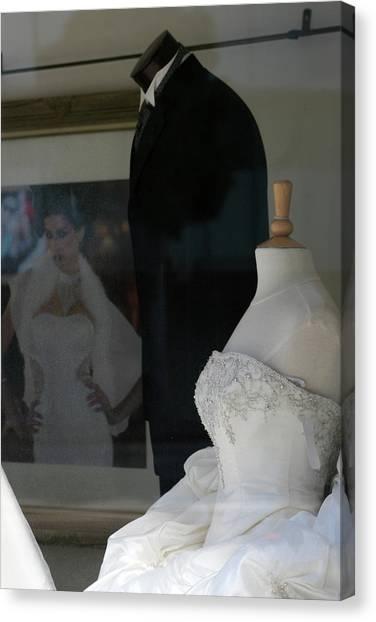 Window Wedding Attire Canvas Print