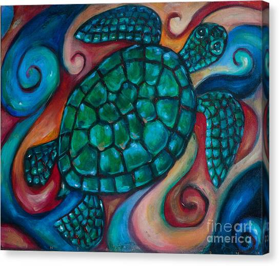 Windowpane Sea Turtle Canvas Print by Linda Olsen