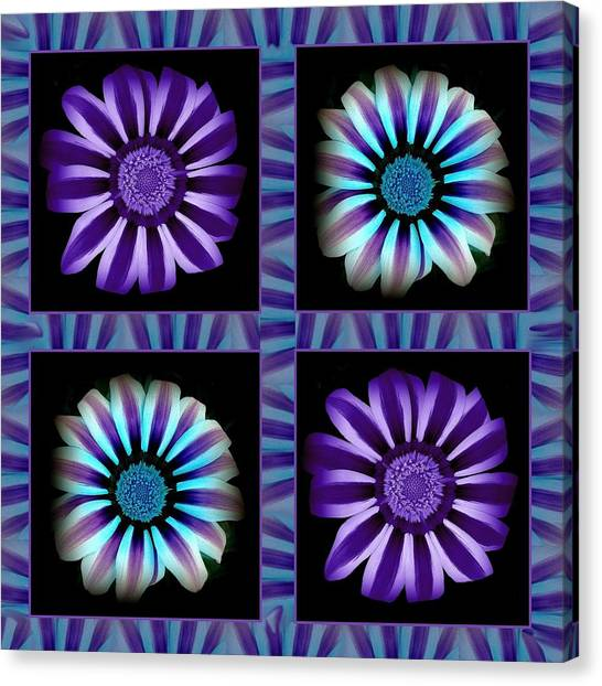 Windowpanes Brimming With  Moonburst Stripes Of Flowers - Scene 1 Canvas Print by Jacqueline Migell