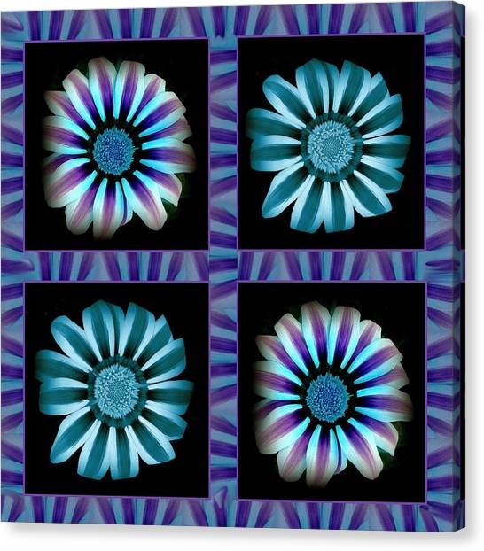 Windowpanes Brimming With  Moonburst Stripes Of Flowers - Scene 2 Canvas Print by Jacqueline Migell