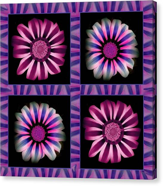 Windowpanes Brimming With  Moonburst Stripes Of Flowers - Scene 3 Canvas Print by Jacqueline Migell