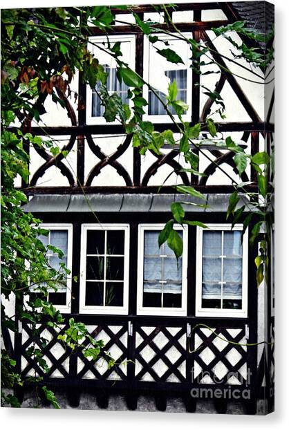 Canvas Print - Windows In Eltville 3 by Sarah Loft