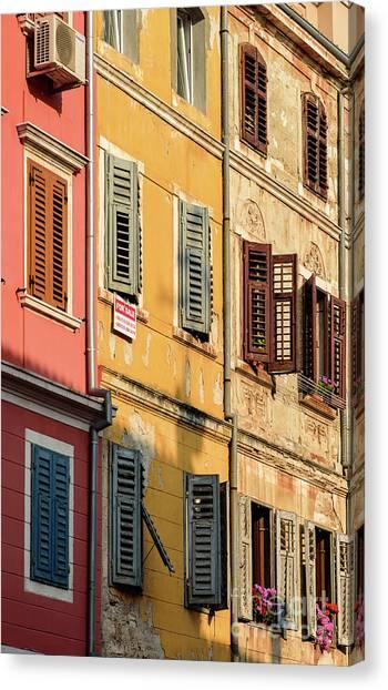 Windows Of Rovinj, Istria, Croatia Canvas Print