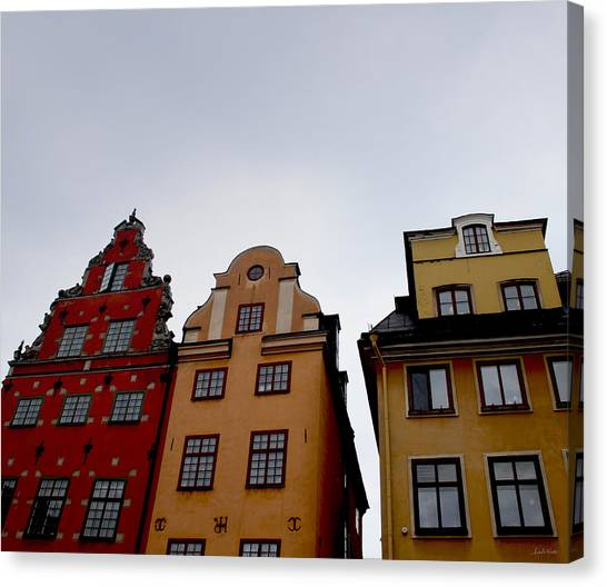 Swedish Canvas Print - Windows On Gamla Stan by Linda Woods