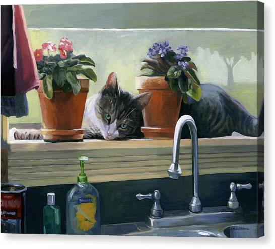 Windowsill Cat Canvas Print