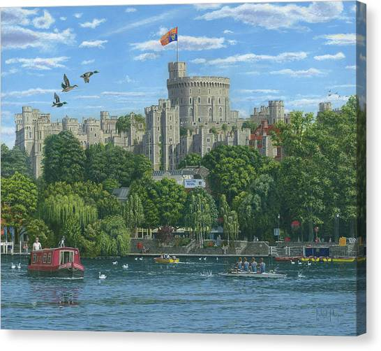 Queen Elizabeth Canvas Print - Windsor Castle From The River Thames by Richard Harpum