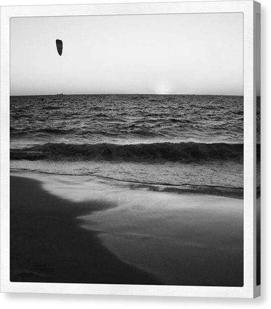 Surfing Canvas Print - Windsufer B And W by Dave  Cassidy