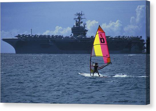 Canvas Print - Windsurfer And Aircraft Carrier by Carl Purcell