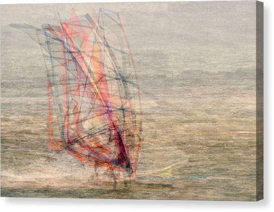 Windsurfers Canvas Print by Denis Bouchard