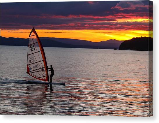 Windsurfing Lake Champlain Canvas Print