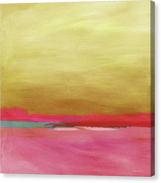 Sunset Horizon Canvas Print - Windswept Sunrise- Art By Linda Woods by Linda Woods