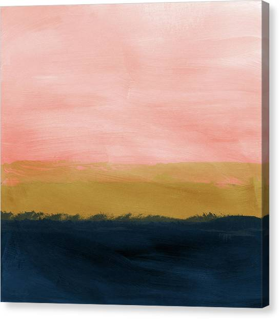 Navy Blue Canvas Print - Windswept Sunset- Abstract Art By Linda Woods by Linda Woods