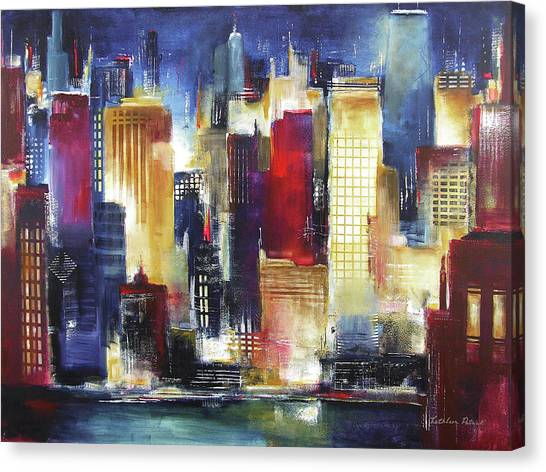 Abstract Skyline Canvas Print - Windy City Nights by Kathleen Patrick