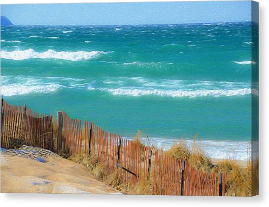 Windy Day On Lake Michigan Canvas Print