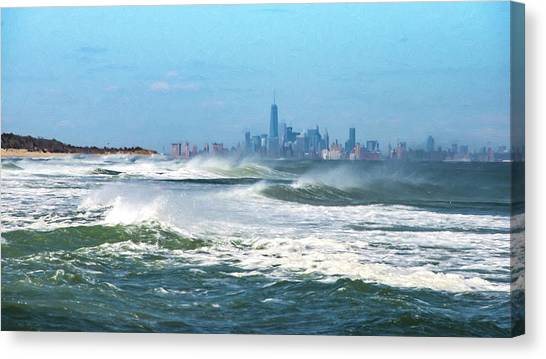 Windy View Of Nyc From Sandy Hook Nj Canvas Print