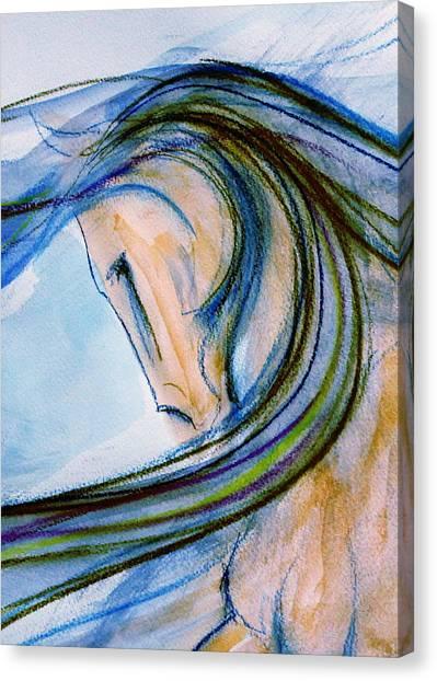 Sporthorse Canvas Print - Windy Walk by Jennifer Fosgate