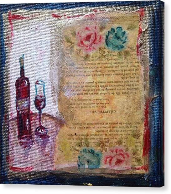 Red Wine Canvas Print - Wine & Roses #wine #whimsical #paris by Roxy Rich
