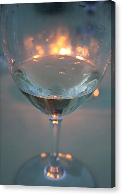 Wine And Candlelight Canvas Print by Gail Salitui