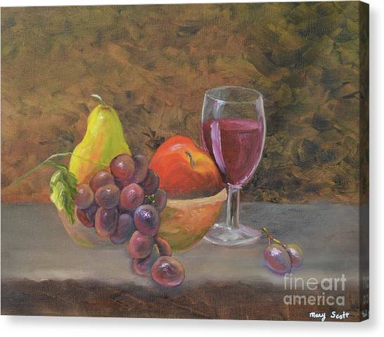 Canvas Print featuring the painting Wine And Fruit by Mary Scott