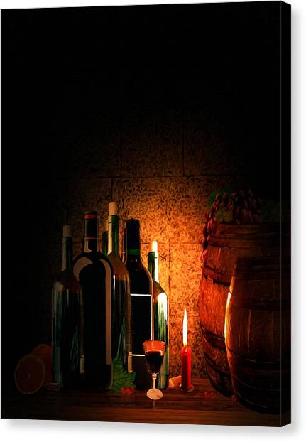 Wine Barrels Canvas Print - Wine And Leisure by Lourry Legarde