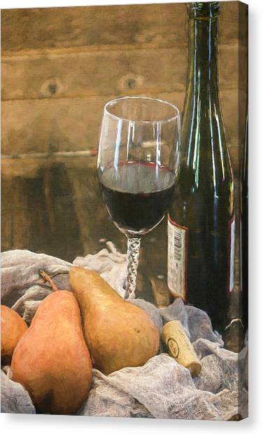 Wine And Pears Canvas Print