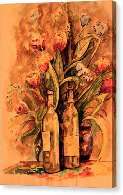Wine And Tulips Canvas Print by Dan Earle