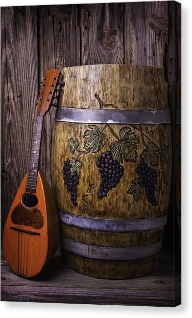 Wine Barrels Canvas Print - Wine Barrel With Mandolin by Garry Gay