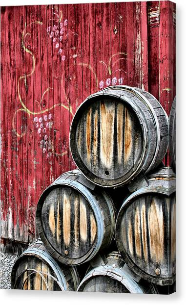 Grape Vine Canvas Print - Wine Barrels by Doug Hockman Photography