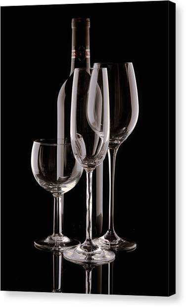 Wine Bottle And Wineglasses Silhouette Canvas Print