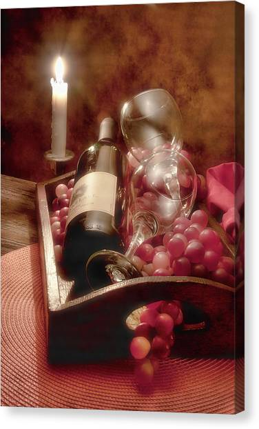 Candle Lit Canvas Print - Wine By Candle Light II by Tom Mc Nemar
