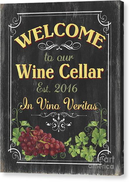 Bistros Canvas Print - Wine Cellar Sign 1 by Debbie DeWitt