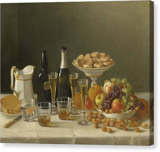 Dinner Table Canvas Print - Wine, Cheese, And Fruit by John F Francis