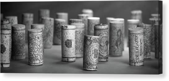 Black And White Art Canvas Print - Wine Cork Panorama In Black And White by Tom Mc Nemar