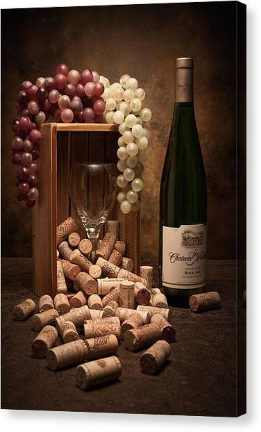 Glass Art Canvas Print - Wine Corks Still Life II by Tom Mc Nemar