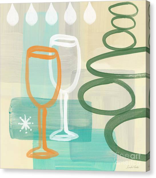 Wine Art Canvas Print - Wine For Two by Linda Woods