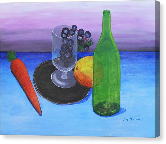 Wine Glass And Fruits Canvas Print
