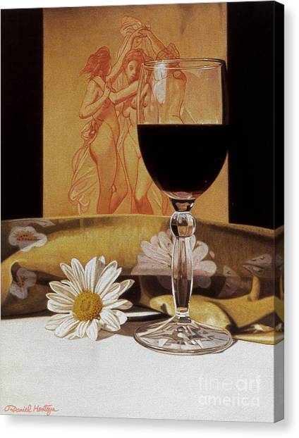 Wine Glass And Three Graces Canvas Print by Daniel Montoya