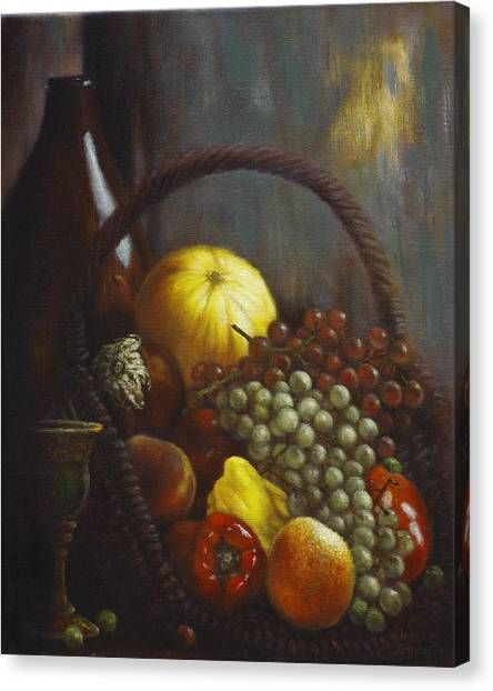 Fruit Baskets Canvas Print - Wine Goblet by Harvie Brown