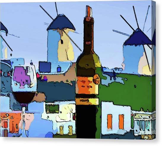 Wine In Mykonos Canvas Print