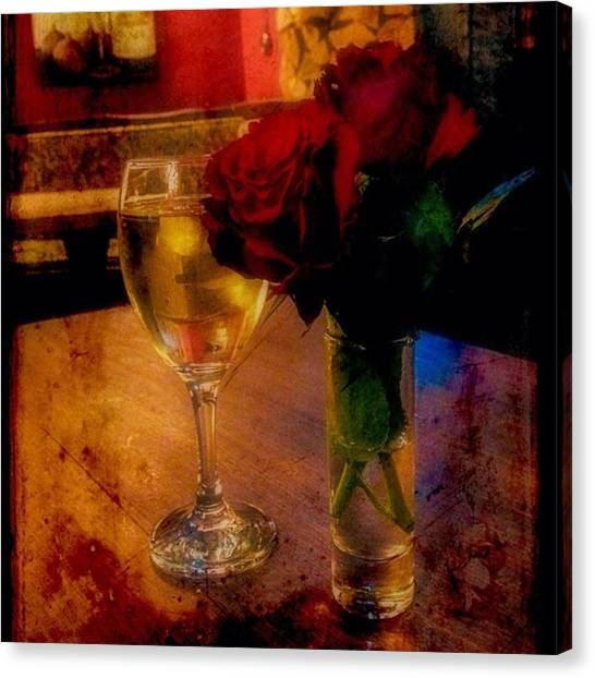 Red Wine Canvas Print - #wine #roses #red #flowers #floral by Sam Stratton