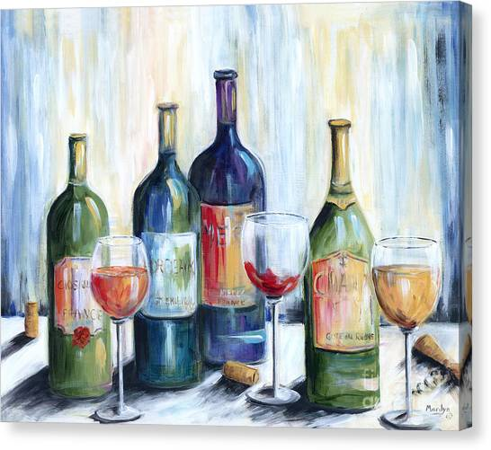 White Wine Canvas Print - Wine Time by Marilyn Dunlap